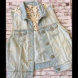Jean vest lace back details size M